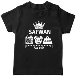 Make-a-Memory-Prince-Crown-Birthfact--T-Shirt-Black