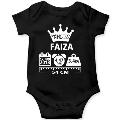 Make a Memory Prince or Princess Crown Birthfact Baby Romper Black