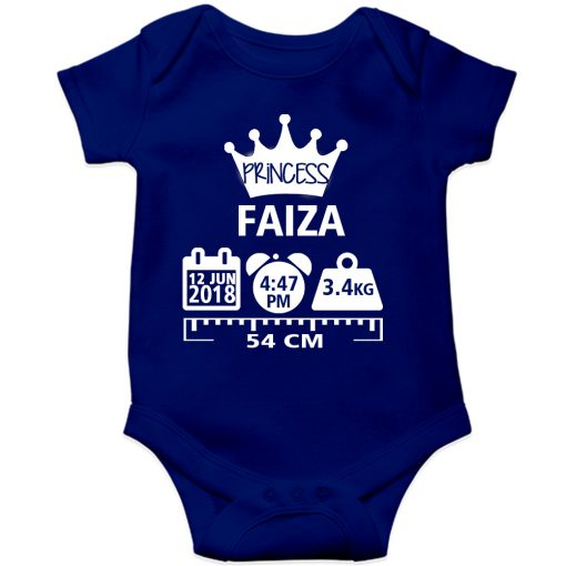 Make a Memory Prince or Princess Crown Birthfact Baby Romper Blue