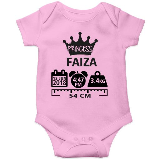 Make a Memory Prince or Princess Crown Birthfact Baby Romper Pink