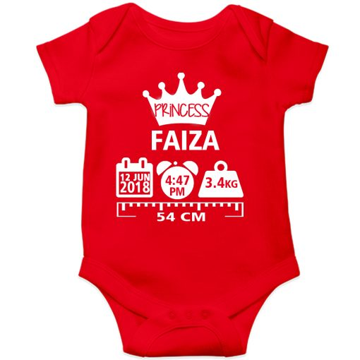 Make a Memory Prince or Princess Crown Birthfact Baby Romper Red