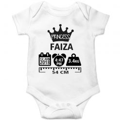 Make a Memory Prince or Princess Crown Birthfact Baby Romper White