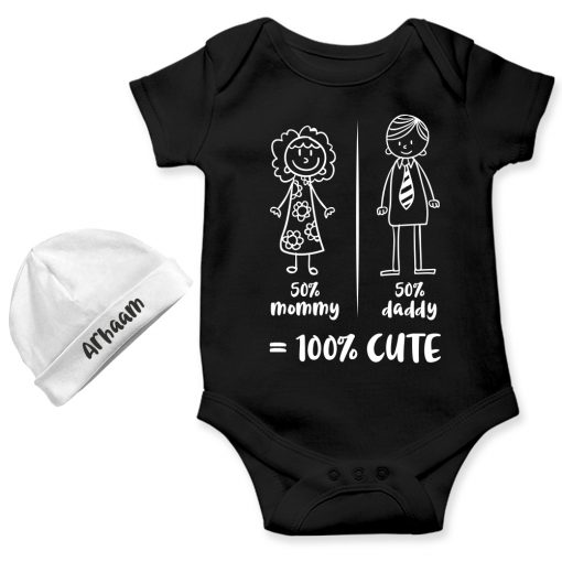 Mommy-Daddy-Combination-Baby-Romper-Gift-Black