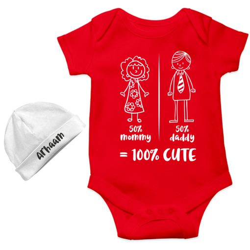 Mommy-Daddy-Combination-Baby-Romper-Gift-Red