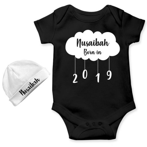 New-Born-Gift-Amazing-Baby-Romper-With-Beanie-Black