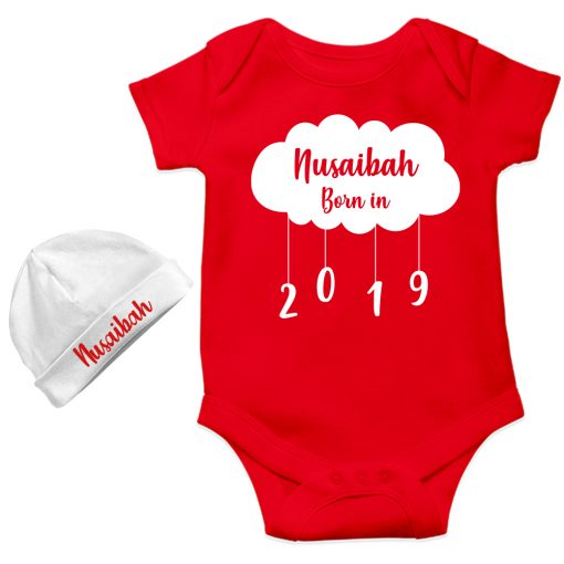 New-Born-Gift-Amazing-Baby-Romper-With-Beanie-Red