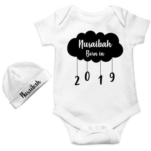 New-Born-Gift-Amazing-Baby-Romper-With-Beanie-White