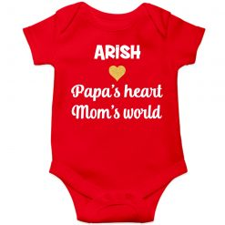 Papa's-heart,-mom's-world-Baby-Romper-Red
