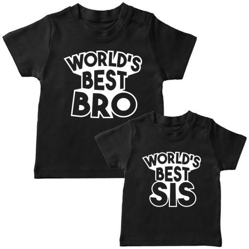 World's Best Sibling Matching Combo T-Shirt Black