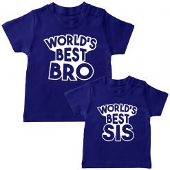 World's Best Sibling Matching Combo T-Shirt Blue