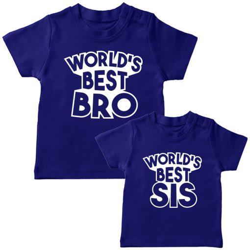 World's Best Sibling Matching Combo T-Shirt Blue