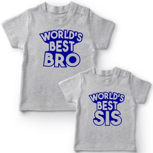 World's-Best-Sibling-Matching-Combo-T-Shirt-Grey