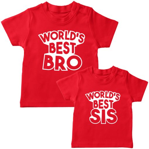 World's Best Sibling Matching Combo T-Shirt Red
