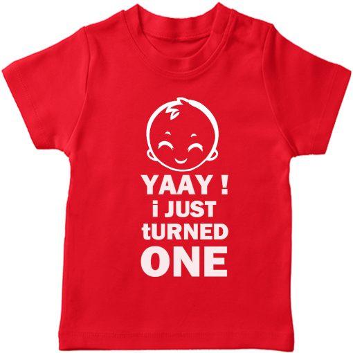 Yaay-I-just-turned-Age-Birthday-Celebration-T-Shirt-Red