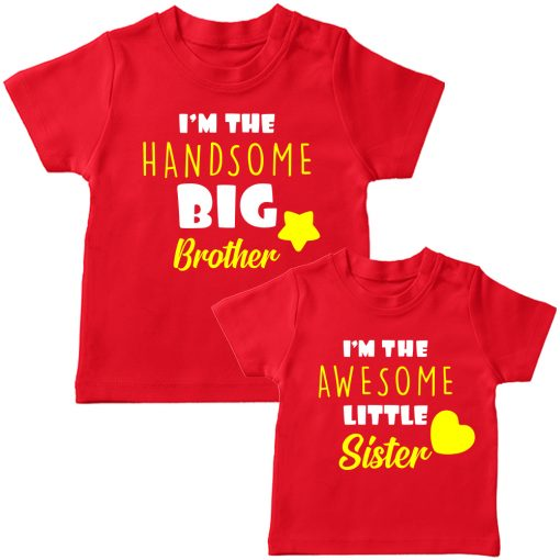 Beautiful Brother Sister Combo T Shirt Red
