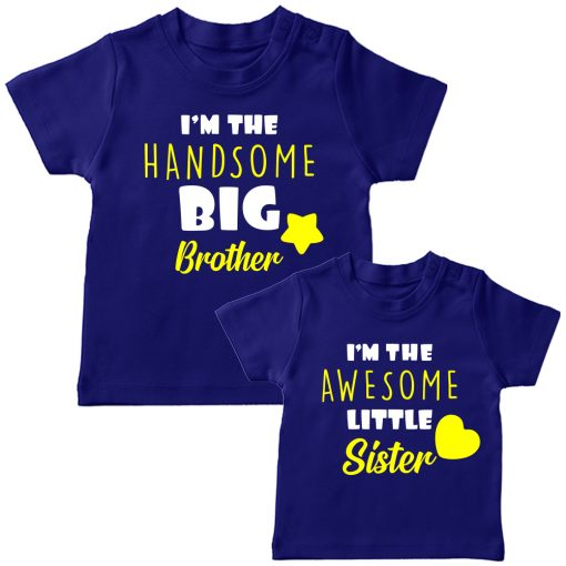 Beautiful Brother Sister Combo T Shirt Blue
