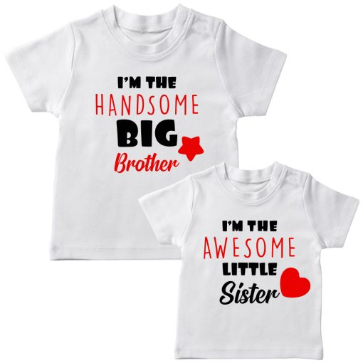 Beautiful Brother Sister Combo T Shirt White