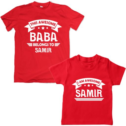 Awesome-BABA-Family-Combo-T-Shirt-Red