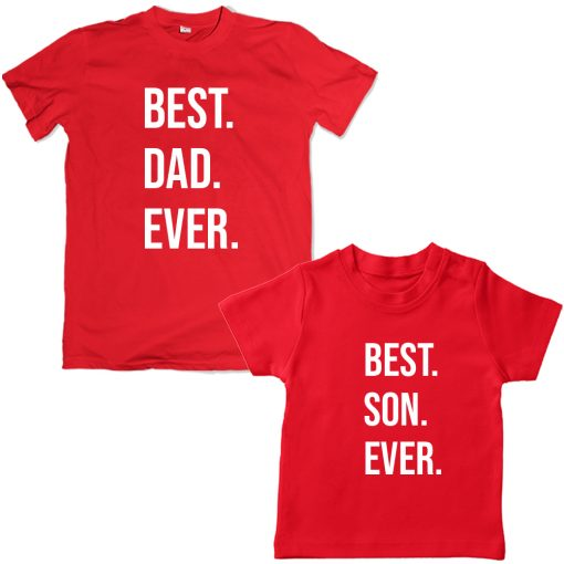 Best-Dad-Son-Unique-Family-Combo-T-Shirt-Red