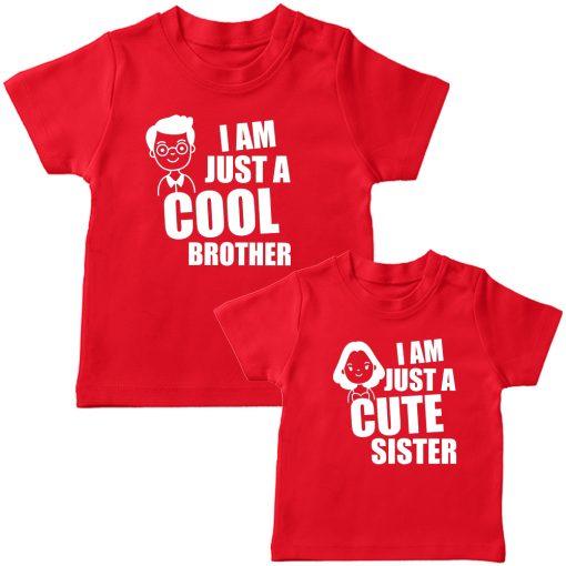 Cool-Bro-&-Cute-Sister-Combo-Siblings-T-Shirt-Red