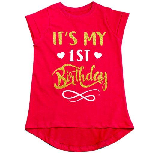 First-Birthday-Beautiful-Designed-Girls-T-Shirt-Red