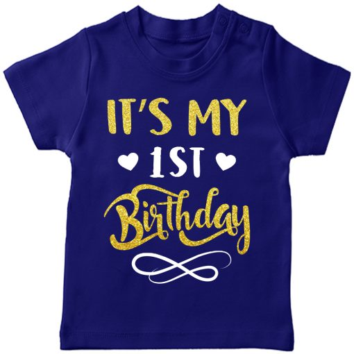 First-Birthday-Beautiful-Designed-T-Shirt-Blue