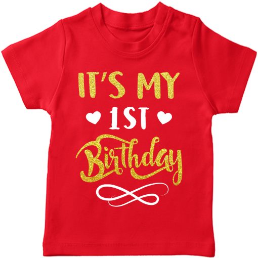 First-Birthday-Beautiful-Designed-T-Shirt-Red