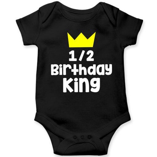 Half-Birthday-King-Baby-Romper-Black