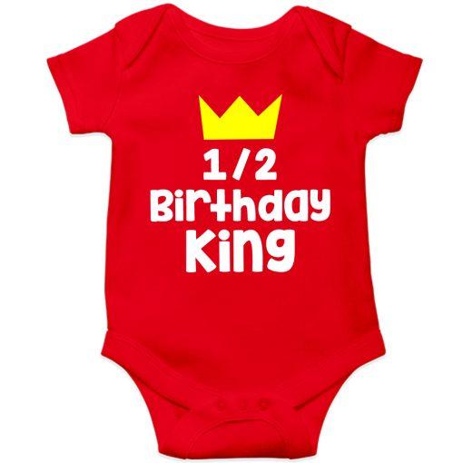 Half-Birthday-King-Baby-Romper-Red