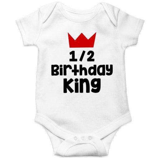 Half-Birthday-King-Baby-Romper-White