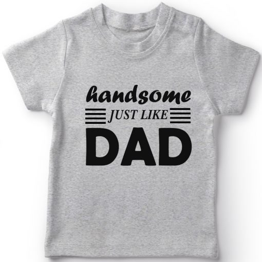 Handsome-Like-Dad-Boys-T-Shirt-Grey