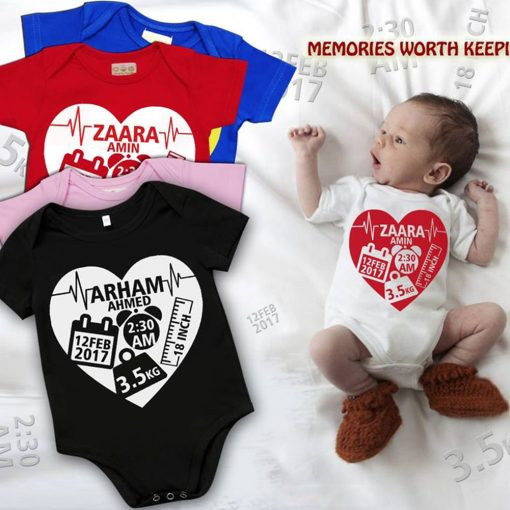Heart-shape--Birth-facts--Baby-Romper-Content