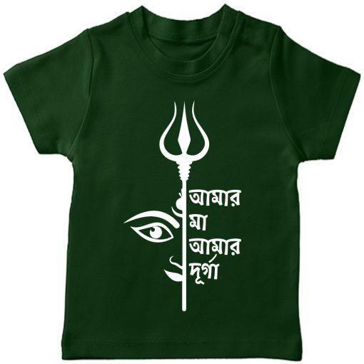 Amar-Ma-Amar-Durga-TShirt-Green