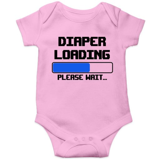 Diaper-is-loading-Baby-Romper-Pink
