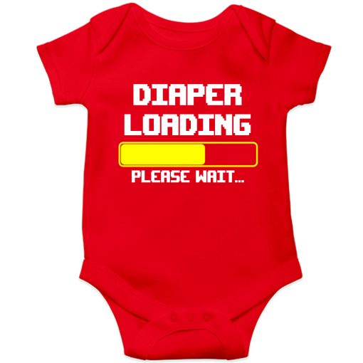 Diaper-is-loading-Baby-Romper-Red
