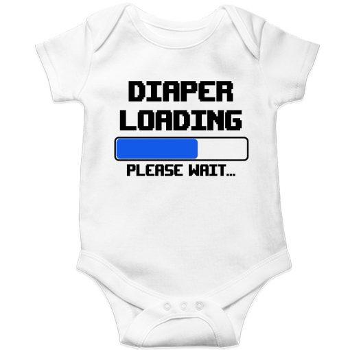 Diaper-is-loading-Baby-Romper-White
