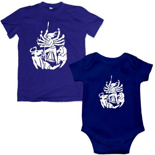 Durga-Family-Combo-T-Shirt-&-Romper-Blue