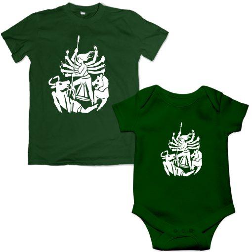 Durga-Family-Combo-T-Shirt-&-Romper-Green
