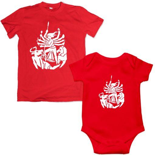 Durga-Family-Combo-T-Shirt-&-Romper-Red