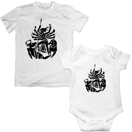 Durga-Family-Combo-T-Shirt-&-Romper-White