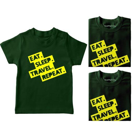 Eat-Sleep-Repeat-&-Travel-Family-Combo-T-Shirt-Green