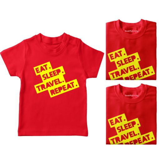 Eat-Sleep-Repeat-&-Travel-Family-Combo-T-Shirt-Red