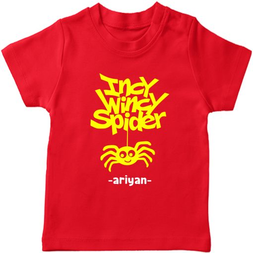 Incy-Wincy-Spider-Customized-Name-Tee-Red