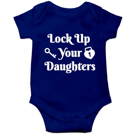 Lockup-your-daughters-Baby-Romper-Blue
