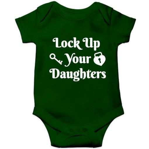 Lockup-your-daughters-Baby-Romper-Green