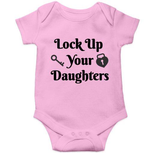 Lockup-your-daughters-Baby-Romper-Pink
