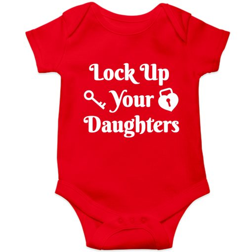 Lockup-your-daughters-Baby-Romper-Red