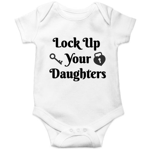 Lockup-your-daughters-Baby-Romper-White