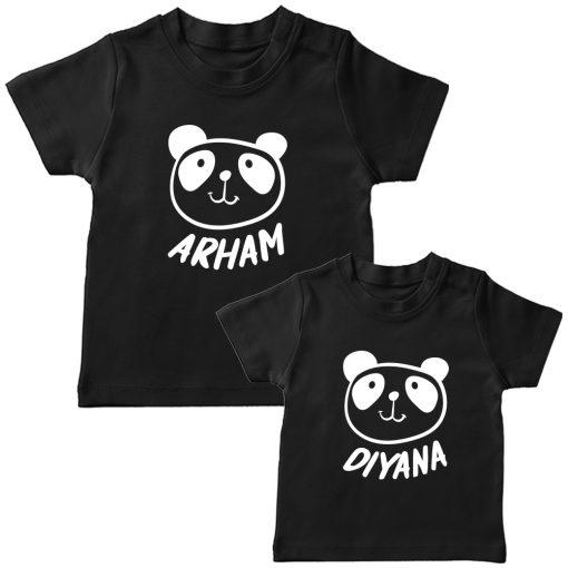 Panda-Customized-Name-Tee-Siblings-T-Shirt-Black