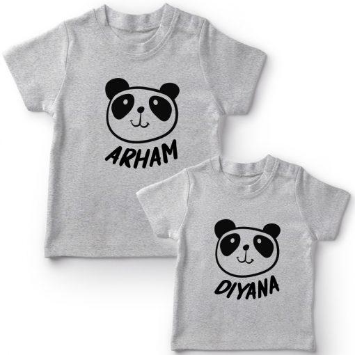 Panda-Customized-Name-Tee-Siblings-T-Shirt-Grey